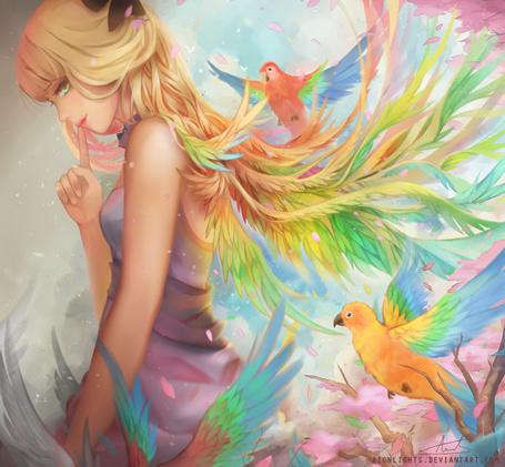 Фото Девушка с разноцветными крыльями стоит возле попугаев, by Aionlights