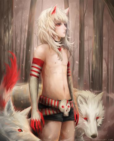 Фото Парень и два белых волка, by Aionlights