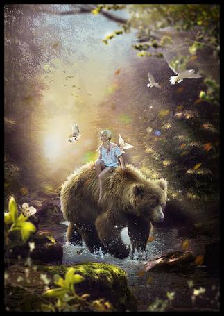 Фото Девочка сидит на медведе и вокруг нее летают голуби, by saritaangel07