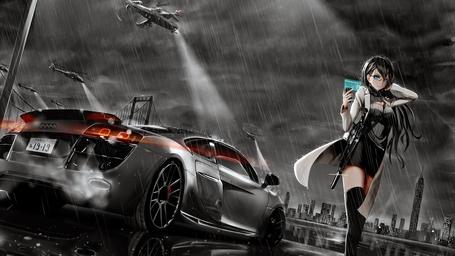 Фото Девушка с телефоном и автоматом идет под дождем от автомобиля