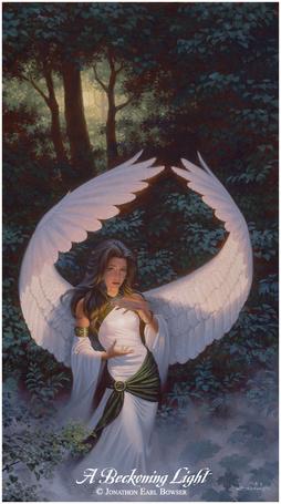 Фото Девушка-ангел на фоне природы, художник Jonathon Earl Bowser