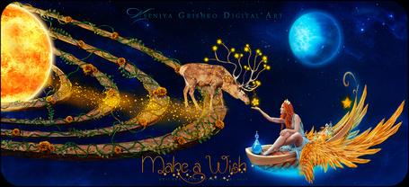 Фото Девушка в волшебной лодке протянула руку со звездой сказочному оленю, by VeilaKs