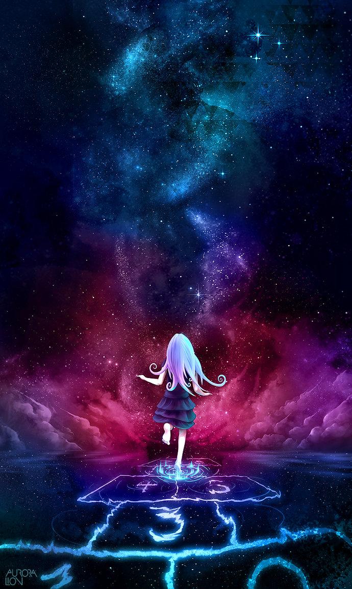 Фото Белокурая девочка, играющая в классики в космосе, by Aurora Lion