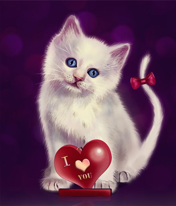 Открытка с кошками я тебя люблю
