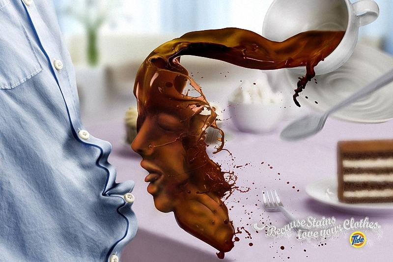 Фото Выплеснутое с чашки кофе с женским лицом, с открытым ртом и высунутым языком тянется к мужской рубашке с мужским лицом и раскрытым ртом с высунутым языком (Настолько окраски любят вашу одежду), реклама стирального порошка Тide