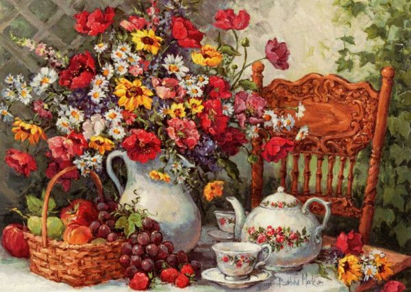 Фото Чайный натюрморт с цветами и фруктами, художник Barbara Mock