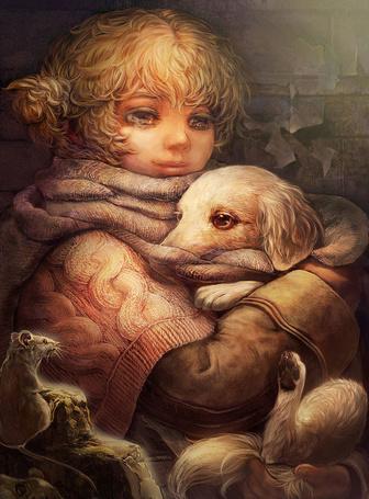 Фото Девочка нежно прижимает к себе щенка, художница Umedama Rico