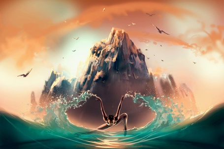 Фото Парень на воде на фоне горы, ву Cyril ROLANDO