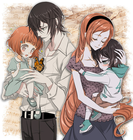Фото Иноуэ Орихимэ / Inoue Orihime и Улькиорра Шиффер / Ulquiorra Shiffer из аниме Блич / Bleach с детьми