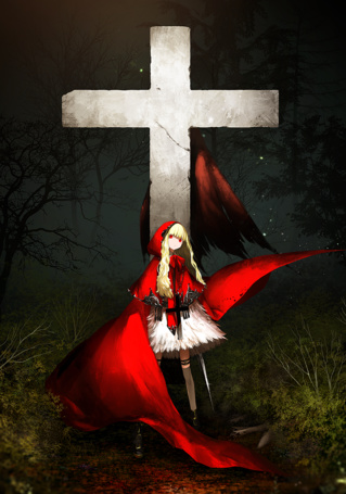 Фото Девушка в красном плаще с мечом в руке стоит, прислонившись к кресту, на котором висят крылья