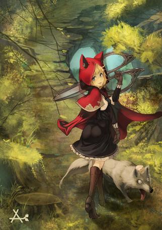Фото Красная шапочка с волчьими ушками несет огромные ножницы, рядом идет бабушка, принявшая волчий облик, by akaikitsune