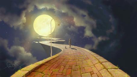 Фото Девочка с кошкой стоят на дороге, ведущей к полной луне, by fear-sAs