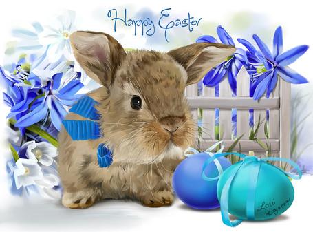Фото Пасхальный кролик у цветов, (Happy Easterby / Христос воскрес), ву Kajenna