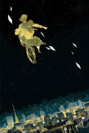 Фото Две девушки летят по небу на велосипеде