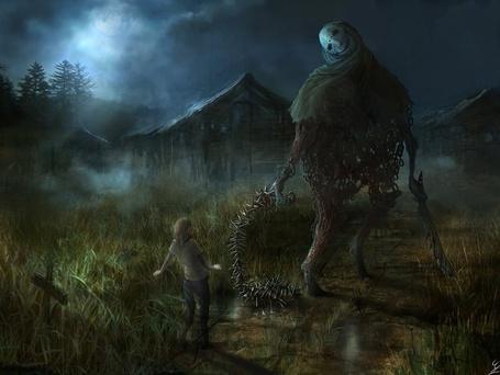 Фото Монстр стоит на дороге и пытается напугать девочку