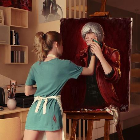 Фото Девушка рисует портрет парня, by Neskvik