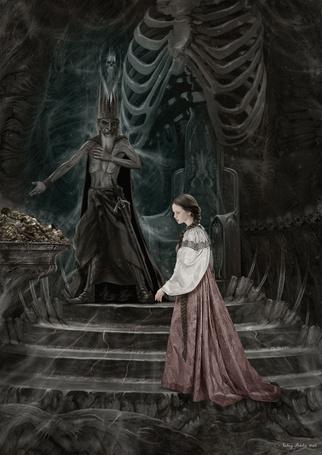 Фото Кошей бессмертный и девушка в зале из костей, художник Валерий Петелин