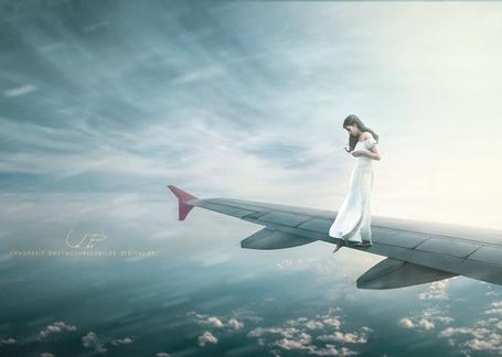 Фото Девушка на крыле самолета, by chaopavit