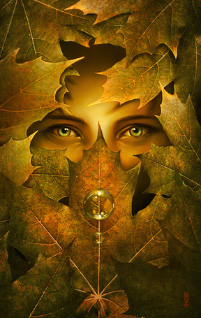 Фото Глаза девушки за осенними листьями