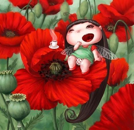 Маленькая фея на маковом цвете, иллюстратор Лия Селина