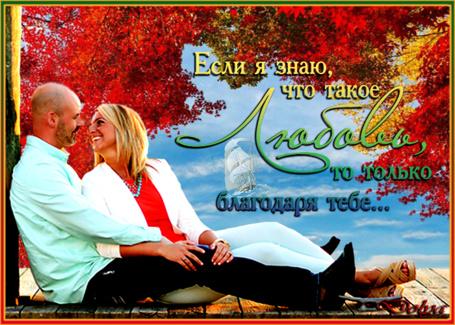 Фото На фоне неба, облаков и осенних деревьев, на мостике сидит влюбленная пара и смотрят друг на друга (если я знаю, что такое любовь, то только благодаря тебе)