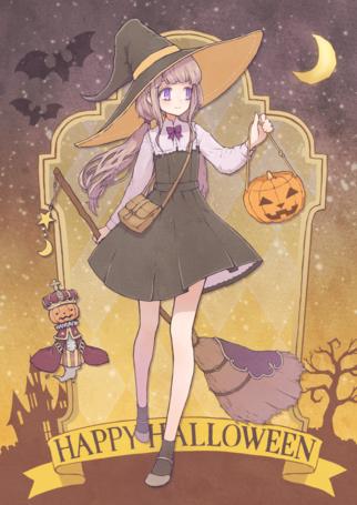 Фото Девочка-ведьма с метлой в руке (Happy Halloween)