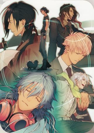 Фото Aoba Seragaki, Koujaku, Clear, Noiz и Mink, аниме DRAMAtical Murder / Драматическое убийство, art by Honyarara