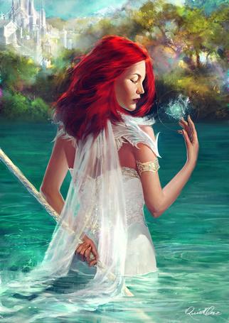 Фото Рыжеволосая девушка с посохом стоит в воде, by elena-nekrasova