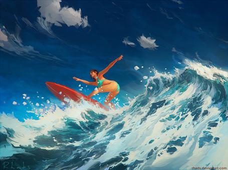 Фото Девушка на серфинге, by RHADS