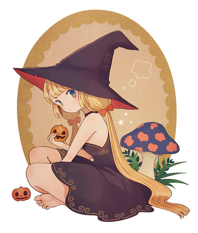 Фото Ведьмочка с тыквой в руке