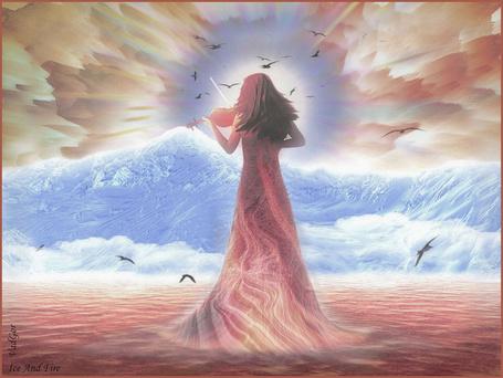 Фото Девушка стоит среди бушующих волн, на фоне гор и грозного неба, в котором летают птицы и играет на скрипке, (Vad Gor)