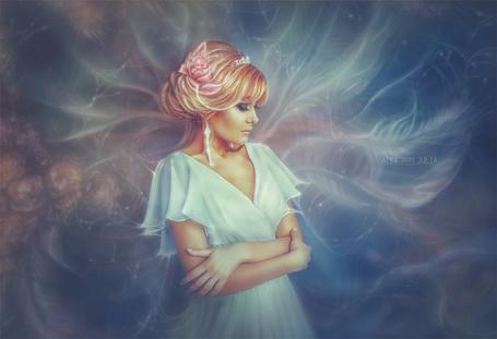 Фото Девушка в белом платье стоит, опустив голову, работа Happiness waiting / счастье ждет, by juliahappy