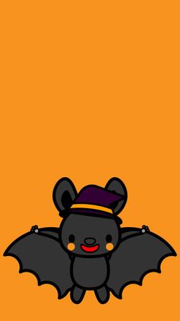 Фото Рисунок летучей мыши в шляпе на желтом фоне