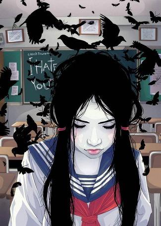 Фото Школьница восточной наружности сидит в школьном классе, в котором летают черные вороны и черные бабочки, (i hate you / я ненавижу тебя), by clocktowerman