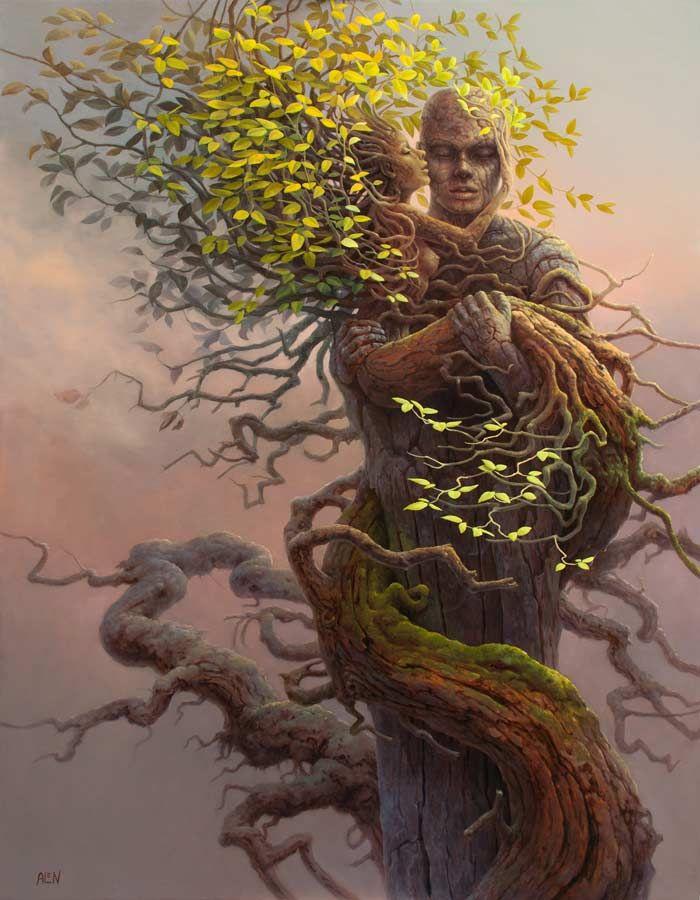 Фото Дерево с ветками в облике влюбленных, ву Tomasz Alen ...