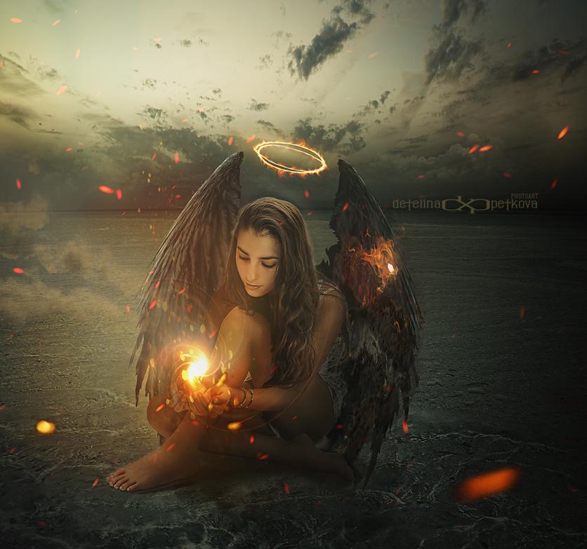 Фото Работа Черный ангел с огнем в руках, by Detelina
