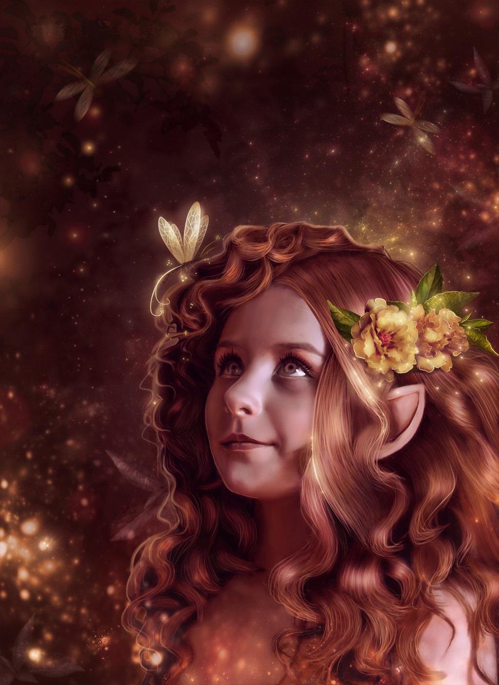 Фото Девочка-эльф, с цветами и стрекозой в красивых волосах, deviant art