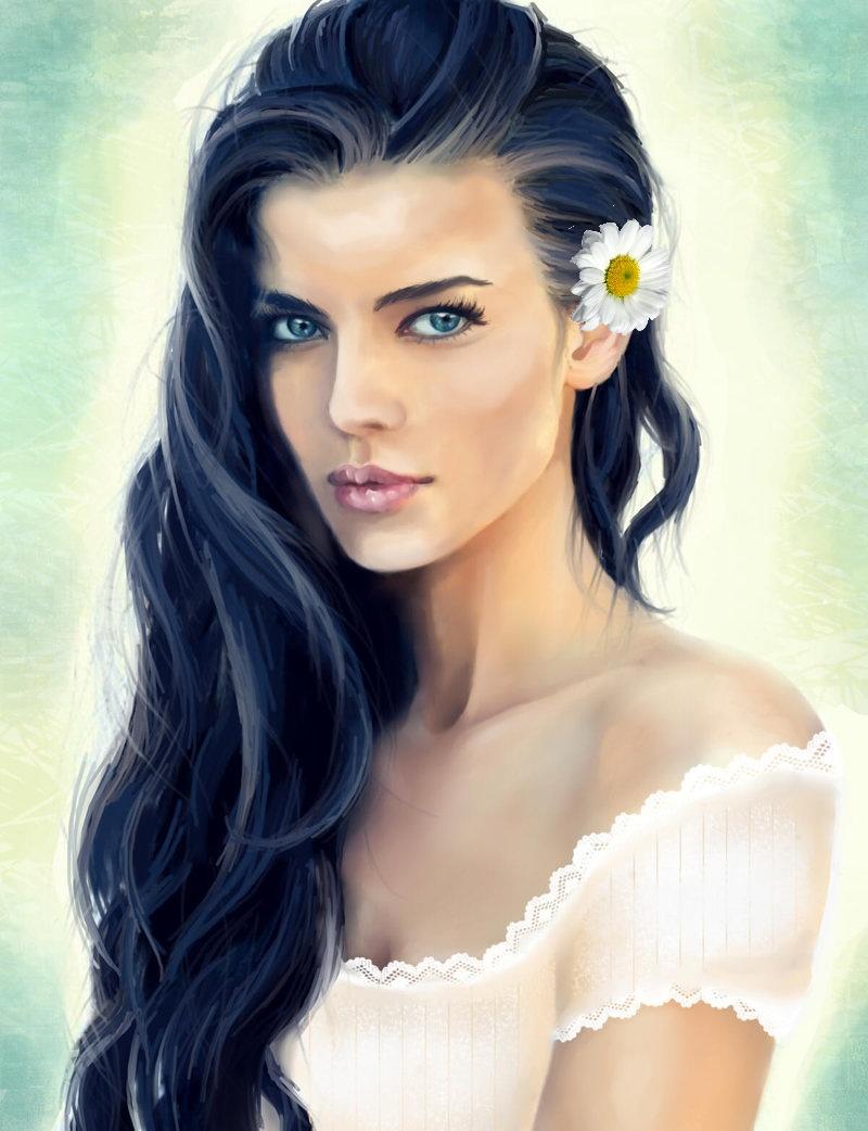 Девушка с ромашкой на волосах, исходник by kinyret