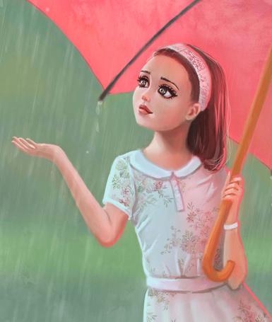 Фото Девочка с красным зонтом в руке стоит под дождем, by nena211