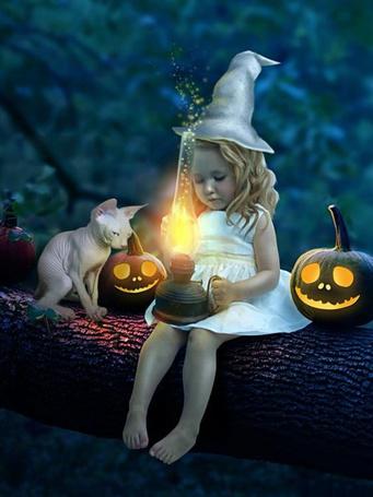 Фото Девочка в костюме ведьмочки и кот сидят на бревне и смотрят на лампу