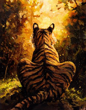 Фото Тигр сидит к нам спиной, by kenket