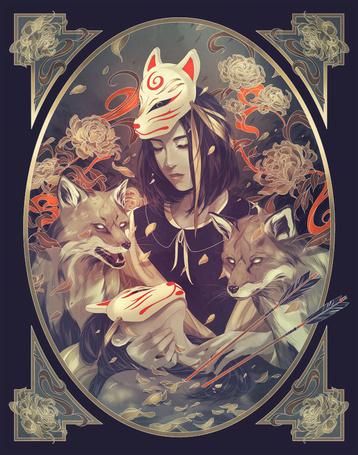 Фото Девушка бережно прижимает к себе парня в лисьей маске, грудь которого пронзили две стрелы, за этим наблюдают две лисы, by eevientan
