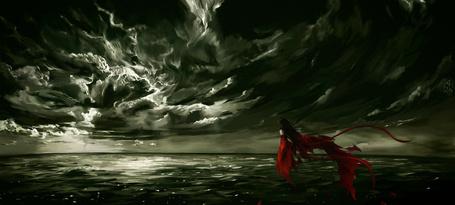 Фото Девушка в красном парит над водой на фоне облаков, by Licheus