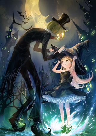 Фото Человек-тыква одевает девочке на голову ведьминский колпак