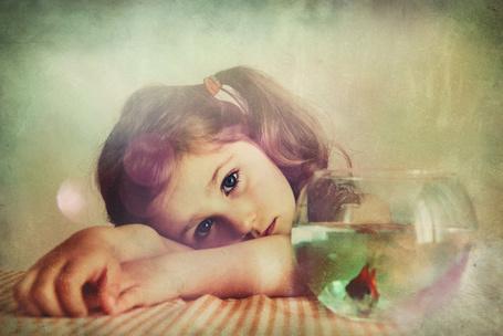 Фото Задумчивая девочка и аквариум с рыбкой перед ней, by monikha