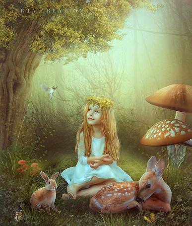 Фото Девочка сидит рядом с зайчиком и олененком, by ektapinki