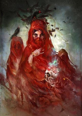 Фото Девушка в красных одеждах с птицами над головой держит череп, by Te Hu