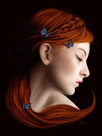 Фото Девушка с закрытыми глазами с бабочками на волосах, by melanneart