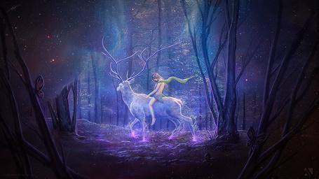 Фото Девушка - эльф верхом на олене в лесу, art by Matkraken