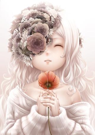 Фото Девочка с цветами на лице держит в руках красный цветок. по которому стекает жидкость, by bouno satoshi